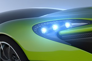 green sportcar closeup